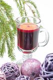 Red mulled wine and xmas decorations Stock Photo