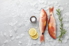 Red mullet fish cooking Stock Photo