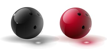 Red and multicolor Bowling Ball isolated on transparent background. Vector illustration.