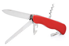 Red multifunctional knife. On the white background Royalty Free Stock Photos