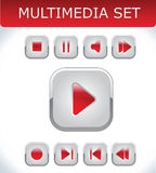 Red multimedia set. Vector EPS Stock Image