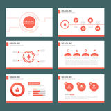 Red multipurpose infographic element flat design set for presentation Stock Images