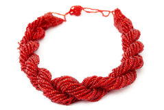 Red Multistrand Twisted Beaded Neckwear, Traditionally African Royalty Free Stock Photography