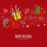 Red multylayered card with Christmas drawing Royalty Free Stock Photography
