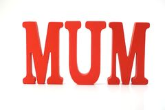 Red mum letters alphabet on white background stock photos