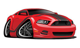 Red Muscle Car Cartoon Illustration. Hot modern American muscle car cartoon. Red with black stripes, aggressive stance, low profile, big tires and rims Royalty Free Stock Photos