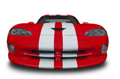 Viper isolated on white. A red Viper car with white stripes isolated on a white background with clipping path included. See my portfolio for more automotive Royalty Free Stock Image