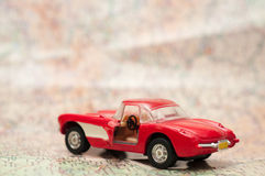 Red muscle car on the map Stock Photo