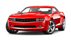 Red Muscle Car On A White Background Stock Photos