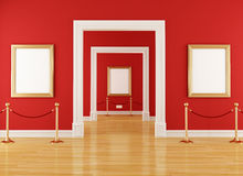 Red museum. Golden empty frame in a red  museum with barrier rope - rendering Royalty Free Stock Photo
