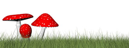 Red mushrooms - 3D render Stock Photography