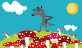 Red mushrooms, girl and wolf Stock Image