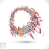 Red music background with clef and notes. Stock Image