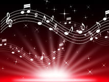 Red Music Background Means Musical Playing And Brightness Stock Photography