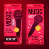 Vector illustration red music concert ticket design template with microphone and cool grunge effects in the background. Red music concert ticket design template royalty free illustration