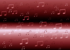 Red music notes  background. Music waves red  color background Royalty Free Stock Photos