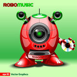 Red Music Robot with Loudspeakers Royalty Free Stock Photo