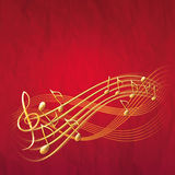 Red musical background with gold notes and treble clef. Red square musical background with gold notes and treble clef fantasy notes raster illustration Stock Photography