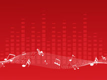 Red musical background with music waves Royalty Free Stock Photos