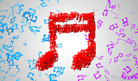 Red Musical Note Particles 3D Stock Photography