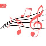 Red Musical notes in flowing design of elements in realistic style, vector illustration stock illustration
