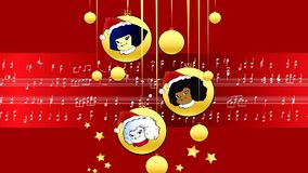 Red Musical Score Merry Christmas whit children stock video footage