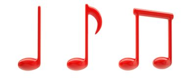 Red musical signs Royalty Free Stock Images