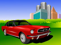 Red Mustang Royalty Free Stock Photography