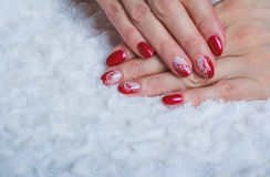 Free Red Nail Art With White Lace With Dots And Lines Stock Image - 67273941