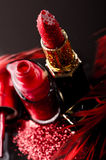 Red nail enamel lipstick Royalty Free Stock Photos