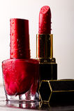 Red nail enamel and red lipstick Stock Photos