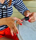Red nail painting Stock Photo