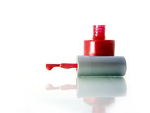 Red nail polish. Bottle of red nail polish. White background Stock Photography