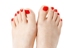 Red nail polish Stock Images