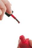 Red Nail Polish and Applicator Stock Photos
