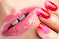Red nail polish. Stock Photos