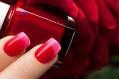 Red nail polish. Stock Photos