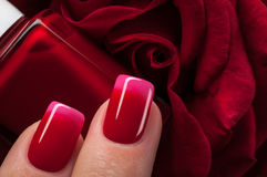 Red nail polish. Stock Photo