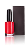 Red nail polish with black box Royalty Free Stock Photography