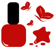 Red nail polish with butterfly beauty fashion illustration Stock Image