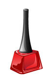Red nail polish in closed flagon Stock Photos