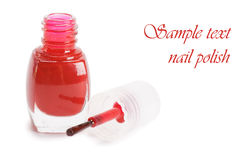 Red nail polish isolated on a white Royalty Free Stock Image