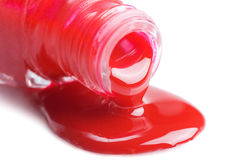 Red nail polish isolated on a white Stock Photo