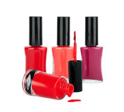 Red nail polish isolated on white. Background Royalty Free Stock Image