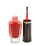 Red nail polish isolated on white Stock Photos