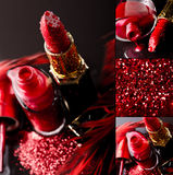 Red nail polish and lipstick Stock Image