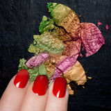 Red Nail Polish and Mineral Colorful Eye Shadow Stock Images