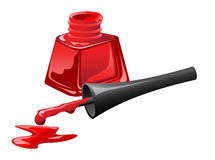 Red nail polish in open flagon and drop beside Royalty Free Stock Photography