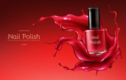 Red nail polish realistic vector promo banner. Red nail polish 3d realistic vector advertising banner with glass bottle in glossy, liquid varnish enamel splash vector illustration