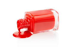 Red nail polish spilled Royalty Free Stock Photos